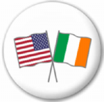 USA and Ireland Friendship Flag 25mm Pin Button Badge